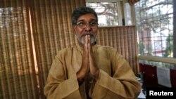 2014 Nobel Peace laureate Kailash Satyarthi speaks with the media in New Delhi, October 10, 2014.