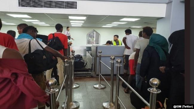 FILE - Ethiopian migrants depart Aden Airport as part of IOM's Voluntary Humanitarian Return initiative, May 22, 2019.