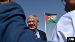 L'envoyé de l'ONU Horst Koehler au camp de réfugiés, au Maroc, le 18 octobre 2017.