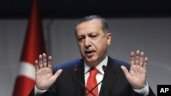 Turkey's Prime Minister Recep Tayyip Erdogan addresses a forum in Istanbul, October 13, 2012.