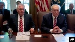 رکس تیلرسون وزیر خارجه آمریکا در کنار پرزیدنت ترامپ.