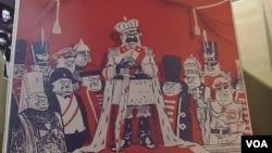 2012年末在莫斯科举办的苏共迫害宗教展览中的漫画。(美国之音白桦拍摄)