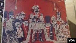 2012年末在莫斯科舉辦的蘇共迫害宗教展覽中的漫畫。(美國之音白樺拍攝)