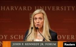 FILE - Federal Reserve Board Governor Lael Brainard speaks at Harvard University in Cambridge, Massachusetts, March 1, 2017.