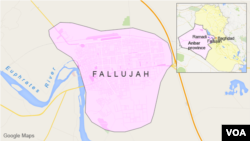 Peta wilayah Fallujah, Irak.