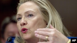 US Secretary of State Hillary Rodham Clinton testifies on Capitol Hill, Feb. 28, 2012.