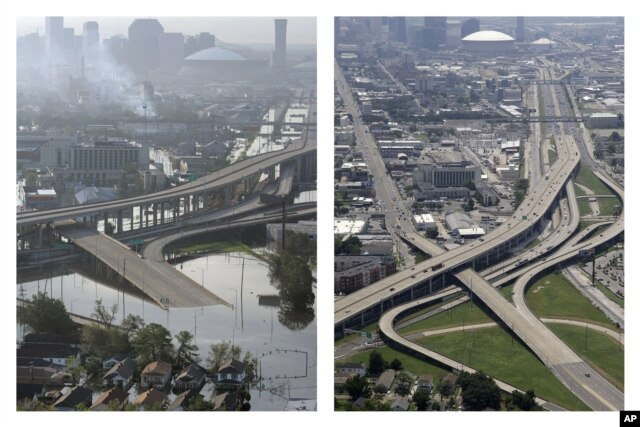 This combination of Aug. 30, 2005, and July 29, 2015, photos shows downtown New Orleans floolded by Hurricane Katrina and the same area a decade later.
