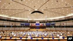 位於布魯塞爾的歐洲議會全體會議室(2020年11月23日)。