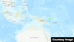 14일 파푸아뉴기니의 지진 발생 지점. 미국 지질조사국 제공 지도.