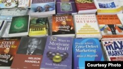 Books are seen on display on a table at the Mogadishu Book Fair in Mogadishu, Somalia. (Courtesy - Mogadishu Book Fair)