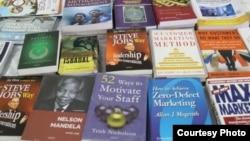Books are seen on display on a table at the Mogadishu Book Fair in Mogadishu, Somalia. (Courtesy - Mogadishu Book Fair)