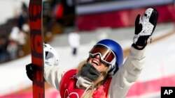 Anna Gasser of Austria celebrates after winning the gold medal in the women's Big Air snowboard final at the 2018 Winter Olympics in Pyeongchang, South Korea, Feb. 22, 2018.