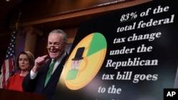 Thủ lãnh khối thiểu số tại Thượng viện Chuck Schumer, đại diện Đảng Dân Chủ tại bang New York (bên phải), và thủ lãnh khối thiểu số tại Hạ viện Nancy Pelosi tại một cuộc họp báo ở Điện Capitol, Washington, ngày 20/12/2017, về viêc thông qua Luật cải cách thuế