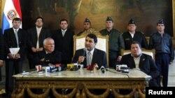 Federico Franco dio una rueda de prensa este sábado en el palacio presidencial.