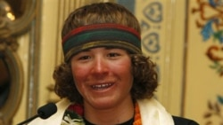 Jordan Romero speaks to reporters in Katmandu, Nepal, after becoming the youngest person to climb Mount Everest