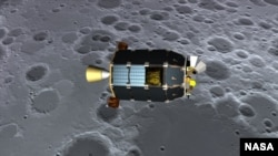 Artist's concept of LADEE passing over the lunar surface