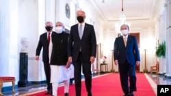 """2021年9月24日,白宮東廳,拜登總統與澳大利亞總理莫里森、印度總理莫迪和日本首相菅義偉一起出席""""四方""""國家峰會。(美聯社照片)"""
