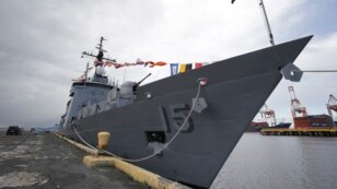 FILE - The BRP Gregorio Del Pilar Philippine warship, at Manila's pier, Philippines, Dec. 17, 2014. The refurbished former U.S. Coast Guard Hamilton-class weather high endurance cutter is now the country's biggest and most modern warship.