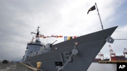 FILE - The BRP Gregorio Del Pilar Philippine warship, at Manila's pier, Philippines.