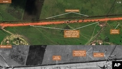 "An apparent Sundanese Armed Forces battalion-sized mechanized convoy is shown in satellite imagery taken on September 9-10, 2011 by DigitalGlobe. For the full-size image, <a href=""http://www.flickr.com/photos/enoughproject/6173397683/in/set-7215762760712"