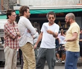 (L to R) Ed Helms, Bradley Cooper, director Todd Phillips and Zach Galifianakis on location during the production of Warner Bros. Pictures' and Legendary Pictures' comedy THE HANGOVER PART II, a Warner Bros. pictures release