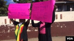 Some of the protesters in Harare on Monday. (Photo: Patricia Mudadigwa)