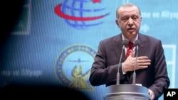Turkey's President Recep Tayyip Erdogan speaks as he inaugurates a new aviation hub in Istanbul, Oct. 29, 2018.