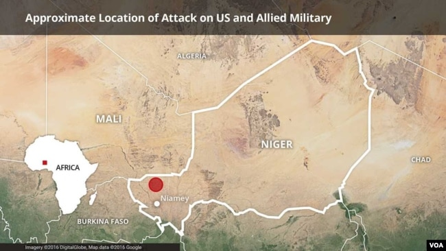 Map of Niger, showing the area where a joint U.S.-Niger military patrol was attacked.