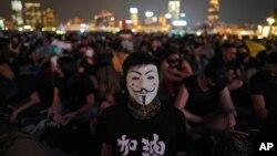 2019年9月28日,香港添馬公園裡的抗爭者