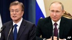 문재인 한국 대통령과 블라디미르 푸틴 러시아 대통령.