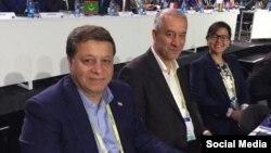 علی کفاشیان،نایب رئیس فدراسیون فوتبال ایران و محمد رضا ساکت، مدیر تیم های ملی، در نشست فیفا