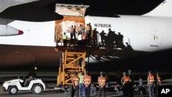 지난해 9월 북한 평양에 도착한 미국의 수해지원 물자. (자료 사진)