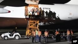지난 2011년 9월 북한 평양에 도착한 미국의 수해지원 물자. (자료사진)