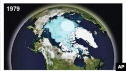 A combination of the National Oceanic and Atmospheric Administration (NOAA) images show September Arctic sea ice in 1979, the first year these data were available, and 2009 in this image from a report released in 2010