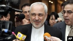 Javad Zarif, Iranian Ambassador to the United Nations speaks to reporters after Security Council consultations regarding Iraq, Iran and other matters at U.N. headquarters in New York, March 21, 2007
