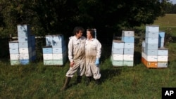 Beekeepers James Cook and Samantha Jones pose for a portrait in front of some of their hives at one of their bee yards near Iola, Wis., Sept. 23, 2020. The couple has worked with honey bees for several years but started their own business this year. (AP Photo/Carrie Antlfinger)
