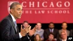 Tổng thống Barack Obama phát biểu tại Đại học Luật Chicago ở Chicago.