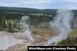 The thousands of steam vents in Yellowstone give off a powerful sulfur odor.
