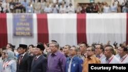 "Para tokoh politik yang menghadiri Pidato Kebangsaan ""Indonesia Menang"", di JCC, Senayan, Jakarta, Senin (14/1). (Courtesy: Prabowo-Sandi media center)"