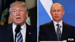 Prezida Turmp wa Amerika (i bubamfu), na Prezida Putine w'Uburusiya (i buryo).