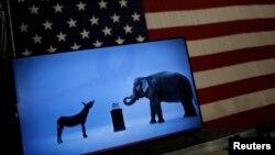 Les mascottes des partis démocrate et républicain, un âne pour les démocrates et un éléphant pour le GOP.