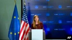 美國駐聯合國大使鮑爾星期四﹐會晤歐盟領導人,並在布魯塞爾發表講話。