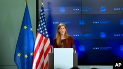U.S. Ambassador to the United Nations Samantha Power speaks during a lecture regarding the Ebola virus at the Residence Palace in Brussels, Oct. 30, 2014.
