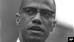 Black Muslim leader Malcolm X is shown addressing rally in Harlem, New York on June 29, 1963.