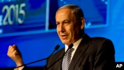 Israeli Prime Minister Benjamin Netanyahu speaks at the 15th Herzeliya Conference in Herzeliya, Israel, June 9, 2015. (AP Photo/Ariel Schalit)