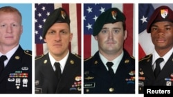 A combination photo of U.S. Army Special Forces Sergeant Jeremiah Johnson (L to R), U.S. Special Forces Sgt. Bryan Black, U.S. Special Forces Sgt. Dustin Wright and U.S. Special Forces Sgt. La David Johnson killed in Niger, West Africa, Oct. 4, 2017, in t