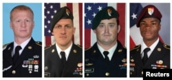 A combination photo of U.S. Army Special Forces Sergeant Jeremiah Johnson (L to R), U.S. Special Forces Sgt. Bryan Black, U.S. Special Forces Sgt. Dustin Wright and U.S. Special Forces Sgt. La David Johnson killed in Niger, West Africa, Oct. 4, 2017, in t A combination photo of U.S. Army Special Forces Sergeant Jeremiah Johnson (L to R), U.S. Special Forces Sgt. Bryan Black, U.S. Special Forces Sgt. Dustin Wright and U.S. Special Forces Sgt. La David Johnson killed in Niger, West Africa, Oct. 4, 2017.