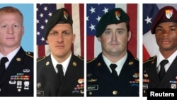 Questions persist concerning an ambush in which four U.S. Army special forces were killed Oct. 4 in the West African country of Niger. The four are, from left, Staff Sgt. Jeremiah Johnson, Staff Sgt. Bryan Black, Staff Sgt. Dustin Wright and Sgt. La David Johnson. (U.S. Army photos)