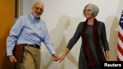 FILE - Alan Gross arrives at a news conference in Washington with his wife Judy hours after his release from Cuba December 17, 2014.