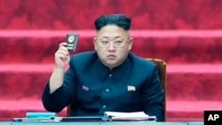 朝鲜最高领导人金正恩在朝鲜最高人民会议上(视频截图)